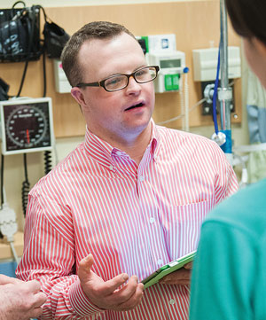 Mr. Majewski helps patients with Down syndrome make the transition from pediatric to adult care.